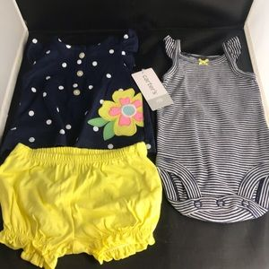 Carters 3 piece new born girl set